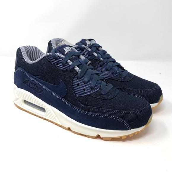 low priced a8ce7 4e529 NIKE Air Max 90 SE Women s Shoes Denim Blue White